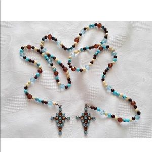 Jewelry - Vtg Glass Beaded Double Cross Rosary Necklace